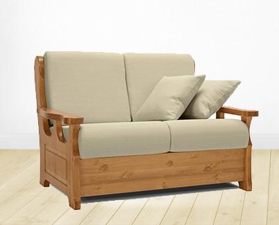 Copridivano per divano con braccioli in legno